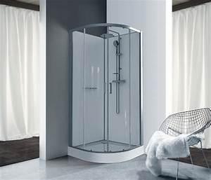 a71770154057b7 cabine de douche kara quart de rond 90 porte coulissante verre transparent  avantage blanc ref