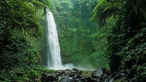 amazing nungnung waterfall falling water hitting water