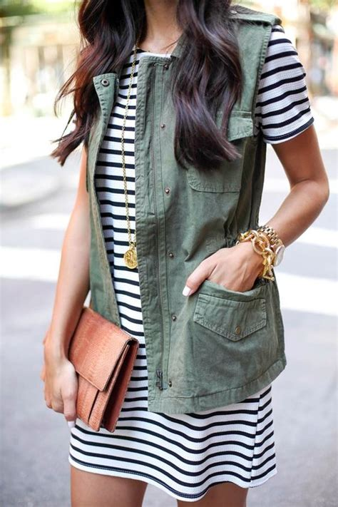 striped army look dress the vest how to wear it gbo fashion