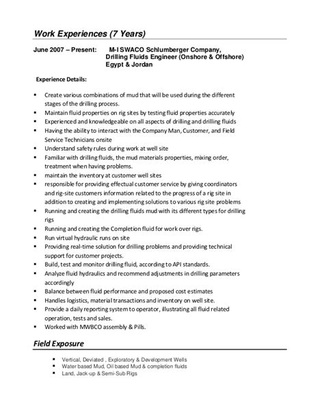 Drilling Fluids Engineer Resume Sle cv of mina awad mud engineer