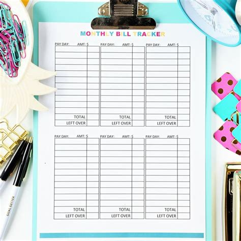 monthly bill tracker digital  making money