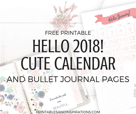 cute calendar bullet journal printable planner pages