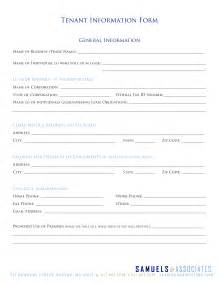 Tenant Contact Information Form Template