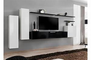 Meuble Salon Noir : meuble tv mural noir et blanc ~ Teatrodelosmanantiales.com Idées de Décoration