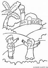 Anak Masjid Mewarnai Gambar Muslim Untuk Islami Tk Islam Kabah Kartun Coloring Tema Muslimah Orang Paud Happy Dan Coloriage Ramadhan sketch template
