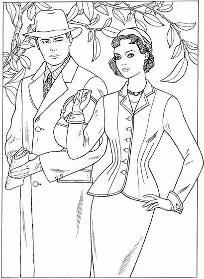Coloring Pages 1950s Fashions Adult Books Creative