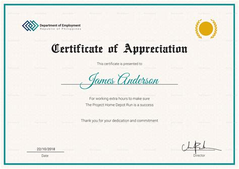 employee recognition certificates templates free employee service certificate design template in psd word