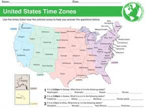 Time Zones USA Map Worksheet