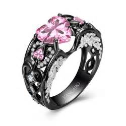 black engagement rings wing collection black and pink engagement ring for