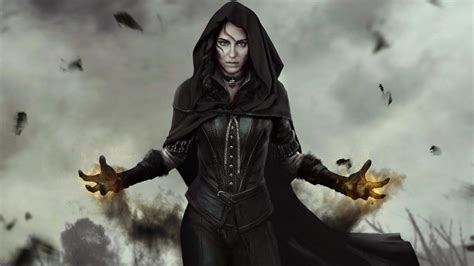 full hd wallpaper  witcher  dark cloak yennefer smoke
