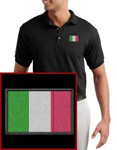 italian flag embroidered black polo shirt new italy ebay