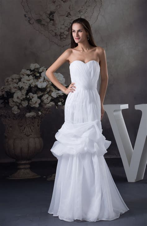 simple outdoor sweetheart lace  organza pleated wedding