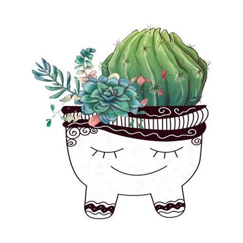 card  cactuses  succulents set plants  desert