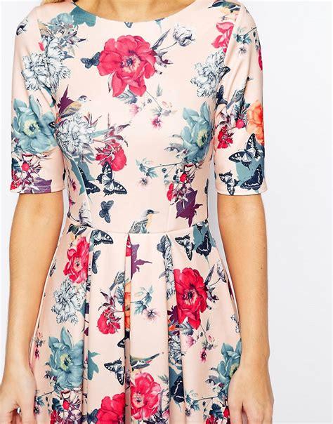 closet closet scuba midi skater dress in floral print at
