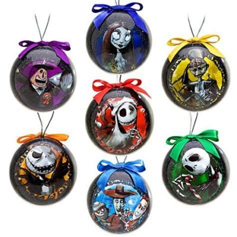 set of 7 nightmare before christmas decoupage ornaments