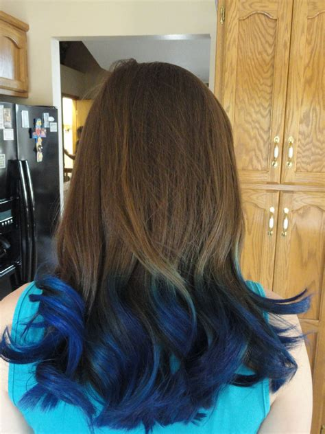 Black Hair With Brown Tips by Blue Tips