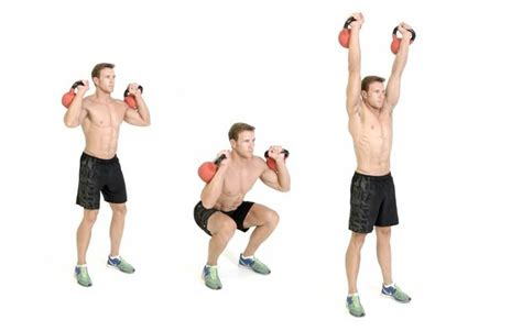 thruster kettlebell thrusters workout exercise kettlebells training hiit encima combinacion sentadilla cabeza press guide getstrong