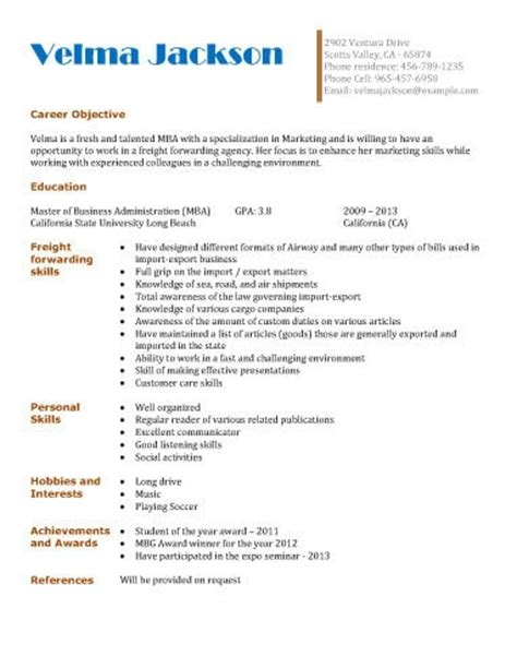 Freight Forwarding Resume Format by Generic Application For High School Students