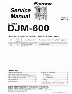 Pioneer Djm-600 Mixer   Original Service Manual