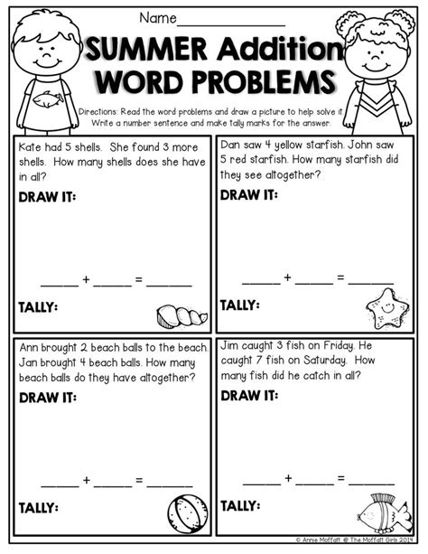 Summer Review No Prep (kindergarten)  Simple Words, Word Problems And Kindergarten