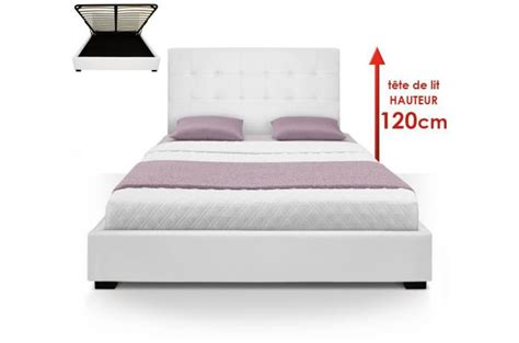 lit coffre avec t 234 te de lit capitonn 233 e cuir blanc 160x200 cm lit design pas cher