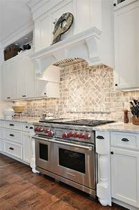 brick backsplashes for kitchens country kitchen like the light brick back splash kitchen stove cabinets and