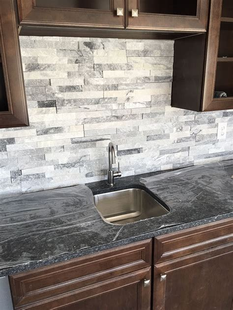 stacked kitchen backsplash stacked is a great bar backsplash home bar