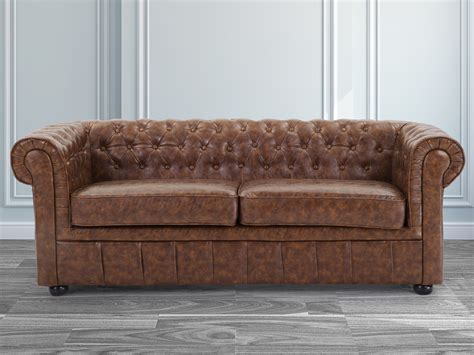 Ebay Settees Leather brown eco leather chesterfield 2 seater sofa settee