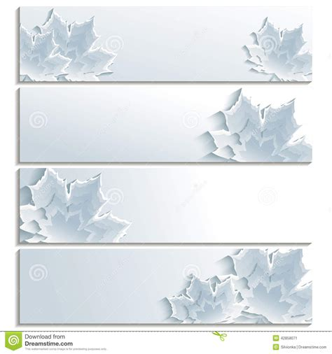 Fall Backgrounds Trendy by Set Of Horizontal Banners With Gray 3d Maple Leaf Stock