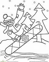 Coloring Snowboarder Snowboarding Winter Kindergarten Education Word Worksheets Activities sketch template