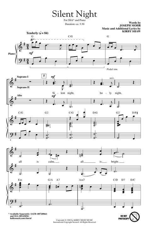 Once your student can play the melody, whether by ear or by reading the notes, show. Silent Night Sheet Music   Kirby Shaw   SSA Choir