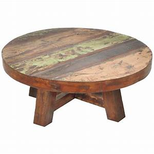 Reclaimed wood coffee table round roselawnlutheran for Distressed white round coffee table