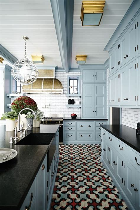 blue kitchen floor tiles 30 tile flooring ideas with pros and cons digsdigs 4827
