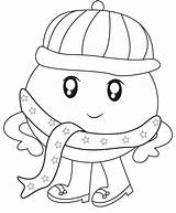 Scarf Coloring Pages Winter Getcolorings sketch template