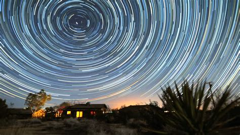 Amazing Circle Star Trails Time Lapse Stock Footage Video