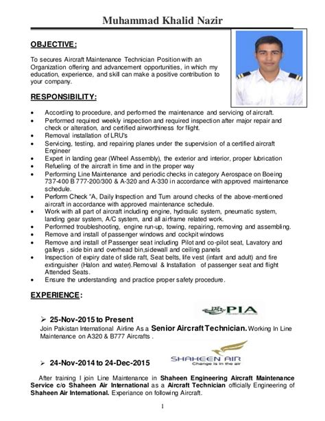 Aircraft Mechanic Cv by Cover Letter For Maintenance Technician