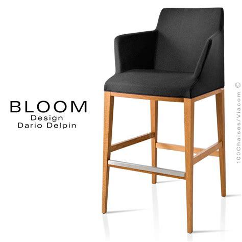 tabouret de bar lounge bloom structure bois vernis assise et dossier garnis habillage tissu