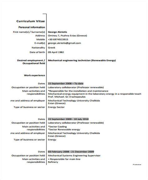 Plumber Resume Exles by 9 Plumber Resume Templates Pdf Doc Free Premium