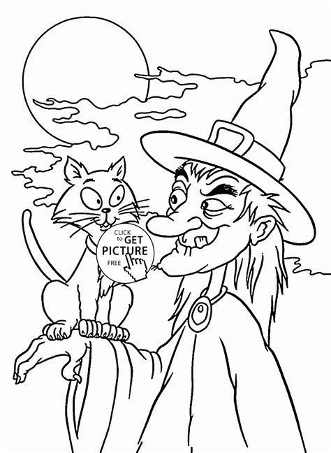 halloween witch  black cat coloring pages  kids