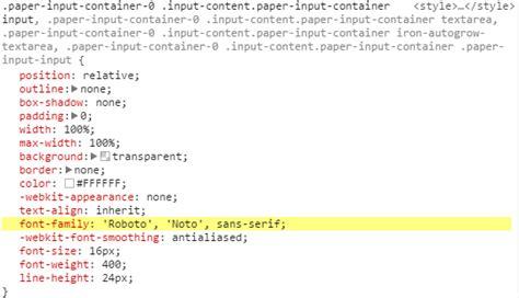 Polymer Set Paper-input Font Family