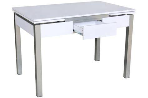 table cuisine tiroir table extensible pieds époxy plateau blanc avec tiroir