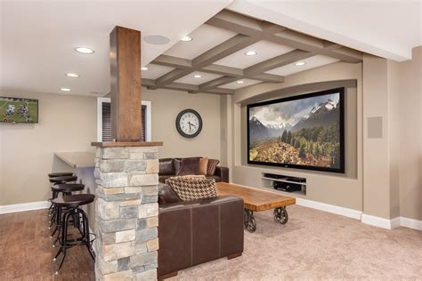 Basement Bar Height by Finished Basement Company Theatre Room With Additional