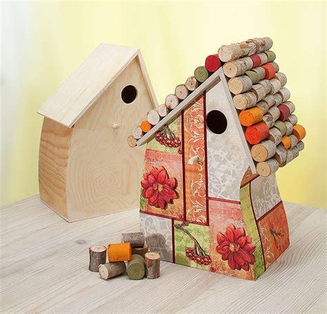 vogelhaus herbstschmuckbild basteln pinterest