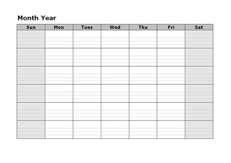 monthly blank calendar  printable templates