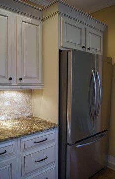 custom built  refrigerator nook created   counter