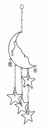 Wind Chimes Moon Chime Metal Stars Star Windchime Outdoor Decor Durable Rustproof Rustic Fence Bell Garden Sun Charm Designs Chain sketch template