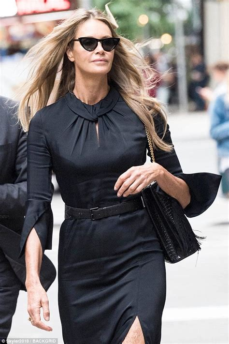 Elle Macpherson Stuns Belted Black Dress Nyc