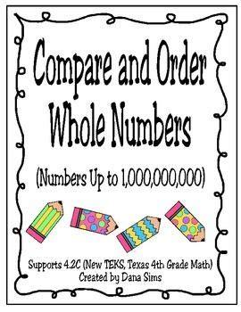 compare  order  numbers    teks