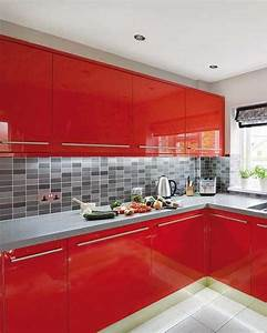 modern kitchen design in revolutionizing bold red color With grey and red kitchen designs