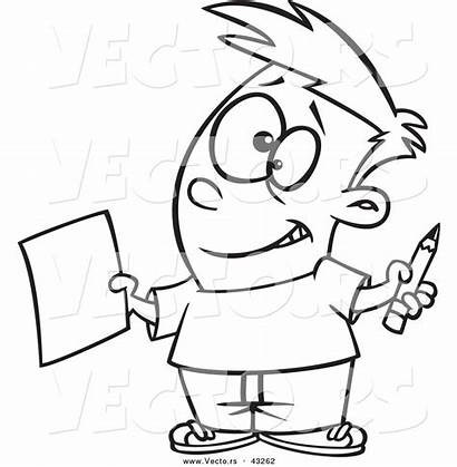 Pencil Outline Cartoon Coloring Boy Paper Holding